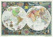 1959 Bayle Transports Aeriens Intercontinentaux Route World Map