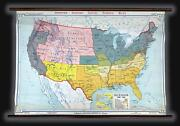 1940 Denoyer-geppert Wall Map Of Secession Before The American Civil War