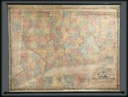 1859 Clark And Tackabury Wall Map Of Connecticut