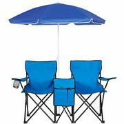 Picnic Double Folding Chair W/umbrella Table Cooler Fold Up Beach Camping Chair