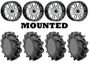 Kit 4 High Lifter Outlaw 3 Tires 44x9.5-24 On Msa M38 Brute Machined Wheels Ter