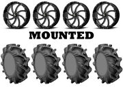 Kit 4 High Lifter Outlaw 3 Tires 44x9.5-24 On Msa M36 Switch Black Wheels Hp1k