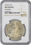 1874-cc Trade Silver Dollar Unc Details Cleaned Ngc