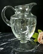 Block Crystal Glass Pitcher Hand Cut With Big Flat Base/ Footed