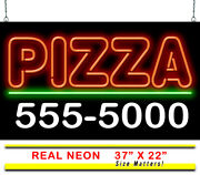 Pizza With Phone Number Neon Sign | Jantec | 37 X 22 | Custom Pizza Delivery