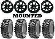 Kit 4 Maxxis Rampage Tires 32x10-14 On Frontline 556 Stealth Matte Black Vik