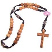 Olive Wood With Silver Tone And Pink Enamel Beads Anglican Rosary 40cm Or 1...