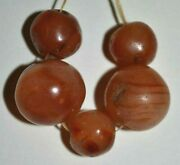 Handmade Antique Carnelian Agate Round Assorted Stone Beads From African Trade