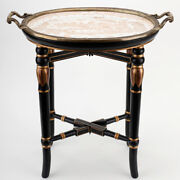 Chinese Oriental Nutmeg Willow Porcelain With Ormolu On Wood Stand Tray Table
