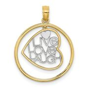 14k Yellow Gold And Rhodium Live Love Laugh In Heart Dangling Round Frame Pendant