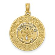 14k Yellow Gold Turks And Caicos Round Frame W/ Sand Dollar Pendant