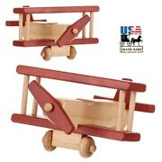 Airplane - Red And Maple Biplane Amish Handmade Wood Toy Play Plane Usa Made Toys