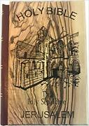 Jerusalem Bible Olive Wood Cover Carved With With Holy Sepulchre Church