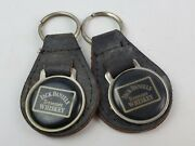 2 Vintage Jack Daniels Tennessee Whiskey Leather Key Chain Fob Ring Metal Back