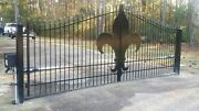 Nowrought Iron Style Steel Driveway Gate 14and039 Inc Post Pkg Garden Home Security
