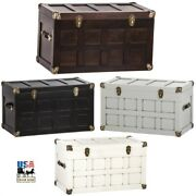 30andfrac12 Amish Steamer Trunk - Handmade Hope Chest With Brass And Leather Hardware Usa