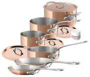 Mauviel M'150s 10 Piece Copper And Stainless Steel Cookware Set W/ Cast Ss Handles