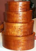 Tiger Maple Shaker Oval Boxes---stack Of 4-----sizes 2-5