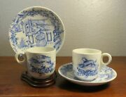 Two Antique Child's Nursery Rhymes Transferware Cups Saucers Mother Hubbard
