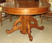 Large Antique Eastlake 29 Victorian Cherry Wood Dining Room Table W/ 5 Leaves