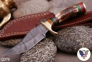 Custom Hand Forged Damascus Steel Hunting Knife W/ Stag Antler And Brass Handle