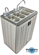 Mobile Concession Sink Portable Food Truck Trailer 4 Compartment Hand Wash Hot