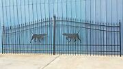 Wrought Iron Style Steel Driveway Gate 18and039 Wd Inc Post Pkg Yard Home Security