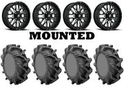 Kit 4 High Lifter Outlaw 3 Tires 35x9-20 On Fuel Stroke Gloss Black Wheels Can
