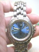 Sharp Fossil Blue Menand039s-1-1/2silver Case Blue Dial Watch Runslooksgreat