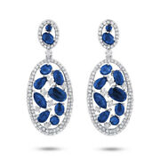 6.42ct 14k White Gold Marquise Oval Pear Round Cut Blue Sapphire Diamond Earring