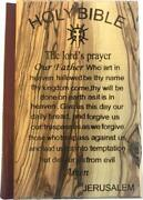Jerusalem Bible Olive Wood Cover Carved With The Lord`s Prayer English 1094