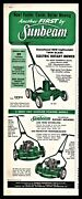 1956 Sunbeam Electric Rotary Power Lawn Mower 22-225 And 221-275 Gasoline Ad