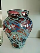 1985 Signed Michael Cohn And Molly Stone Silver Metallic Swirled Vase Limited