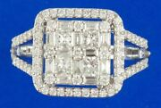 Large 1.05ct Diamond 18k White Gold Round Baguette And Princess Cluster Halo Ring