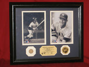 Mickey Mantle Framed Photos With 1961 Game Used Bat And Gold Coin Highland Mint