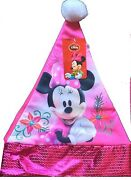 Disney Minnie Mouse Santa Hat With Sequins Finishing On Jersey Material