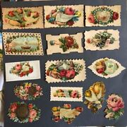 Antique Victorian Lot Of 15 Visiting Calling Souvenir Cards Sweet Roses Doves