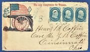 [s100] 63 Strip Of 3 Civil War Patriotic Cover The Only Compromise For Treason