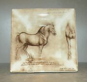 New Large Square Candy Tray Cheval , Horse , Leonard De Vinci  From Gien