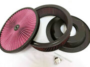 14 X 4 High Flow Air Cleaner Kit Washable Filter Black Recessed Base Wing Nut