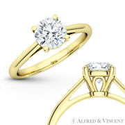 Forever Classic Round Moissanite 4pr Solitaire 14k Yellow Gold Engagement Ring