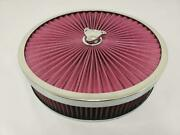 14 X 3 Flow Through Air Cleaner Kit W Washable Filter Recessed Base Deluxe Nut