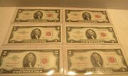 Set Of 6 United States 2 Dollar Bill Red Seal Notes 1953 - 1963a Currency Paper