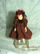 Antique Japan Bisque Jointed Arms Red Mohair Hair Hand Sewn Dress 4and039and039 Girl Doll
