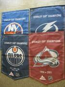 Seven Coors Lite Stanley Cup Champions Banners. Oilers Rangers Lightning Etc.
