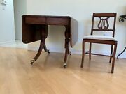 Duncan Phyfe Drop Leaf Table And 4 Harp Back Chairs