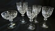 Gorham W. Germany Aspen Water Champagne And 3 Wine Stems Cut Lead Crystal Set