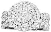 Large 1ct Diamond 14k White Gold Round Cluster Leaf Pave Friendship Promise Ring