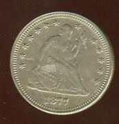 1877 Seated Liberty Quarter   Gem Almost Uncirculated   Philadelphia   Cp1882
