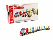 Wooden Digital Numbers Train Learning Educational Toy Set Kids Toddlers Vehicle